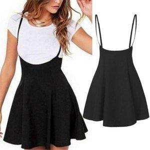 2020 Women's High Waist Strap Mini Skirt A-line Sweet Pleated Skater Overall Jumpsuit Flare Adjustable Suspender Short Skirt Z1122