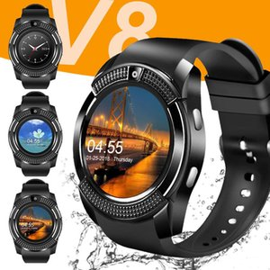 Hot Sale Bluetooth V8 SIM TF Card HD Circular Screen Wrist Watch Phone Smart watches wholesale with Retail Package
