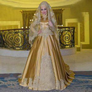 Gold Mulsim Evening Dresses High Neck Long Sleeve Arabic Plus Size Party Dress Prom Wear Formal Pageant Vestidos De Festa Celebrity Gowns