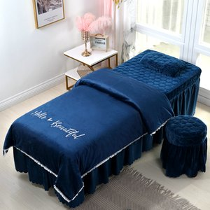 High quality beauty salon bedding set embroidery crystal velvet thick bed linens sheets bedspread pillowcase duvet cover sets #s Z1126