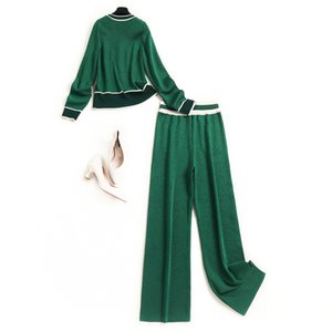 2020 Fall Winter Long Sleeve Round Neck Green Knitted Panelled Cardigans Sweater + Pockets Long Pants Two Piece Suits 2 Pieces Set OO3015809