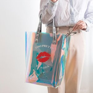 PVC Transparent Handbag Women Portable Clear Beach Bag Large Capacity Cute Handbags Fashion Women Bags Gril Big Letter Tote Bags