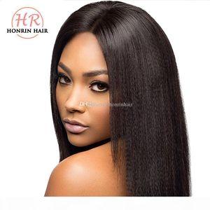 Honrin Hair Full Dentelle Human Hair Wig Light Yaki Droite Brésilienne Vierge Cheveux Preflinée Perruque avant 150% dentelle dentelle