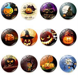 Magnets de réfrigérateur halloween Witch Pumpkin Bat Glue Sign signe modèle Dôme Verre Magnet Magnet Halloween Déco AHC4016