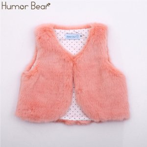 Humor Bear Baby Girls Clothes Cotton Fake Fur Vests Autumn Winter Outerwear Fashion Girls Boys Clothing 201110