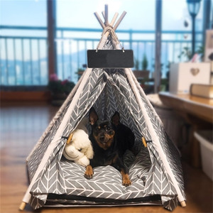 Teepee Bed White Canvas Cute House - Portable Washable Dog Tents for Dog(Puppy) & Cat Pet (with Cushion) 201223