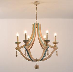 Massivholz Kronleuchter Nordic Turquoise Beleuchtung Loft Dekor Wohnzimmer Foyer Kronleuchter Lobby Böhmische europäische Leichte