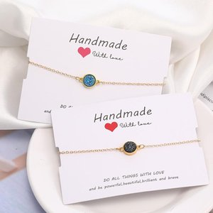 Handmade Crystal Round Resin Druzy Charm Bracelet Colorful Natural Stone Bracelets Bangles for Women Gold Friendship Jewelry Gift With Card