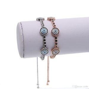 Fit pandora fashion jewelry micro pave cz turquoise stone evil eye charm adjust girl jewelry black cz tennis bracelet