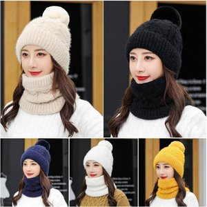 Autumn Winter Women Hat Scarf Two-Piece Thick Warm Earmuffs Plush Beanies Female Knit Wool Double Using Hooded Cap