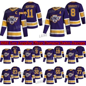 Los Angeles Kings 2020-21 Ters Retro Jersey 11 Anze Kopitar 32 Jonathan Hızlı 8 Drew Hurdalı 77 Carter Hokey Formaları