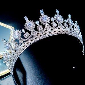 Sposa di lusso Sposa Sposa Headdress Gorgeous Zircon Strass Corona Crown Wedding Tiara Party Pageant Gioielli per capelli Headpeice LB W0104