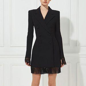 Adyce New Winter Women Slim Trench Coats Black Deep V-Neck Double Breasted Coats Long Sleeve Tassel Fashion Club Coats 201125