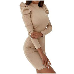 Moda Delle Donne Abito Sexy Solid Sold Sleeve Sleeve Manica Lunga Dress Party Abito mezzo colletto ad alto colletto Stantissy Ufficio Tight BAG HIP
