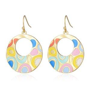 Enamel Drop Earrings For Women Retro New Alloy Ethnic Female Dangle Hanging Earring Fashion Ear Jewelry Brincos 2020
