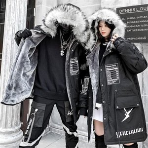 NAGRI Hip-hop Winter Coat Women Long Fur Collar Warm Parka Street Style Oversize Couple Hooded Fleece Jacket Ladies 201118