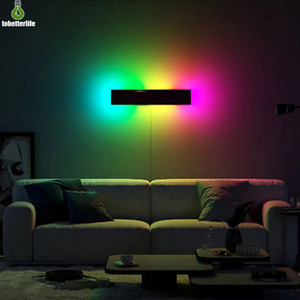 Modern RGB LED Wall lamp Living Room Indoor Decoration Colorful Bedroom Bedside Wall lights Dining Room Lighting Dimmable Lights