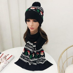 Winter Hat Scarf Set Women Christmas Black Knit Pompom Beanie Autumn Warm Skiing Snow Outdoor Accessory For Kids