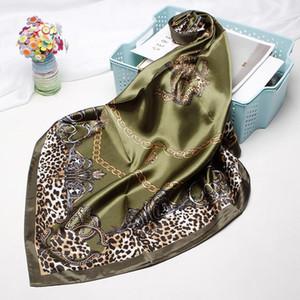Leopard Print Scarves For Women Silk Satin Hijab Scarf Female 90cm*90cm Fashion Square Shawl Scarfs For Ladies 20201