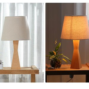 Indoor Concise Modern Style High-grade wood and cloth materials Creative Fashion Eye Protection Table Lamp with Light Source US Plug