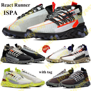 2021 React Runner ISPA Uomo Donna Scarpe da corsa Ghost Aqua Aqua Low Black Summit Bianco Platinum Tint Volt Sneakers Scarpe da ginnastica con tag EUR 36-45