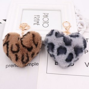 Luxury heart ball pendant PU leather animal plush Keychain rings Rex rabbit fur women's bag car pendant NE1205