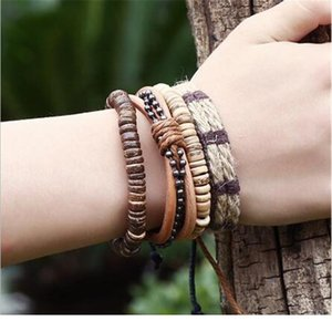 4pcs  Set Braided Wrap Leather Bracelets For Men Women Vintage Wooden Beads Ethnic Tribal Wristbands Bracele bbyHmK
