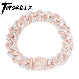 TOPGRILLZ Newest Lock Clasp 14mm Hip Hop Iced Out Bling CZ Men Bracelet 7 8 9 Inch Miami Cuban Link Bracelets Hiphop Jewelry Y1125
