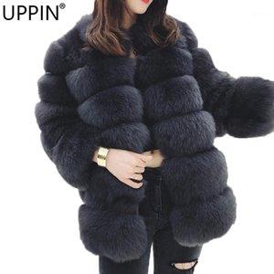 Uppin New Stand Colllar Faux Piel Abrigo Invierno Mujeres Popular Moda Caliente Chaqueta de manga larga Abrigo Hembra Fake Fur Chaqueta Apreciadores1