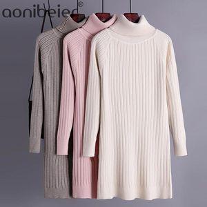 Aonibeier Donne Maglioni 2021 Primavera Autunno Rangle Sleeve Regular Fit Casual Long Pullover TurtleNeck Knit Jumberwear Maglieria