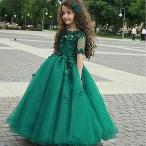 Princess Girls Pageant Dresses Green Ball Gown 3d Flowers Birthday Holy Communion Dresses Plus Size Short Sleeves Flower Girls Dresses P106