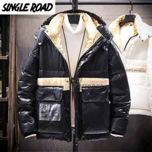 SingleRoad Mens Down Jacket Men 2020 Winter Cargo Jacket Coat Black Patchwork Hooded Windproof Hip Hop Streetwear Jackets Men Y1120