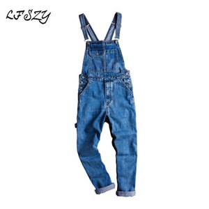 Jeans homens lfszy homens casual denim jeans soltos, macacões, macacão de estilingue