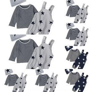 VDXWI Весна и Осенний костюм Мальчик Звездный ремешок Брюки с длинным рукавом Носить Детская футболка Шляпа в трех частях детский костюм
