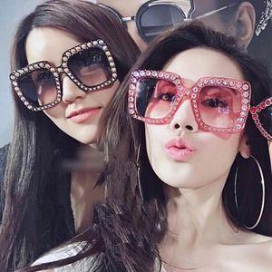 الأزياء سكوير نظارات المرأة الماس النظارات كبيرة شارع إيطاليا مصمم نظارات الشمس السيدات خمر الظلال المتضخم حملق النظارات 815