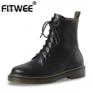 FITWEE Real Leather Ankle Boots For Women Fashion Sewing Winter Shoes Women Street Platform Round Toe Casual Footwear Size 34-40