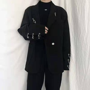 Autumn and winter men's net red retro suit coat with individual iron ring decoration design Fashionable ruffian and handsome suit