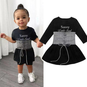 Wholesale Cute Kids Baby Girls Dress+Belt 2pcs 1-6Y Long Sleeve Letter A-Line Dress+Plaid Belt Vest Outfits Set