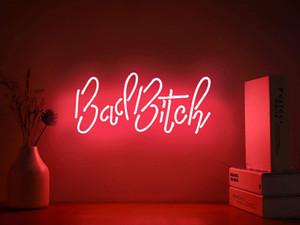 سيئة الكلبة ريال الزجاج اليدوية النيون جدار علامات للمنزل غرفة ضوء غرفة نوم الفتيات فندق الشاطئ 15x8 بوصة شحن مجاني