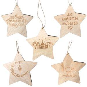 İslam Mübarek Eid Ahşap Süs Ramazan Ahşap Pentagram Asılı Kolye Carve Star Moon Süs 5 Stilleri