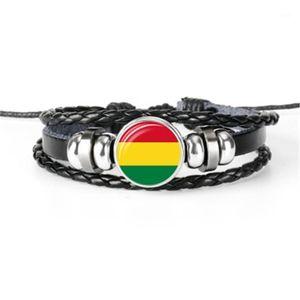 Hot Selling Afganistán, Argentina, Australia, Belice, Benin, Bolivia Bandera Pulseras, Pulseras De Cuero Multilayer