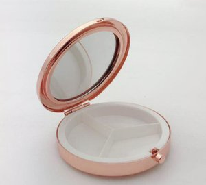 Portable Metal Round Pill Box Medicine Tablet Capsule Container False eyelash box Storage Travel FWC4111