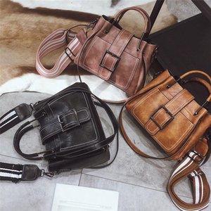 2021 Сумка Женщины Новый Корейский ретро Ведро широкий плечевой ремень плечо мессенджер сумочка твердая сумка винтажная внутренняя молния карман