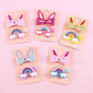Baby Girls Hairclip Rainbow HairClip Cartoon Enfants Enfant bébé Pommes à cheveux Barrettes Set