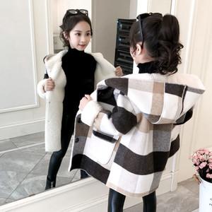 MUDIPANDA AUTOMNE Automne Hiver Girls Coat Mode Longue Section Little Girl Papier Papier épais Lamb Wool Coat Manteau de laine Nouveau 201110