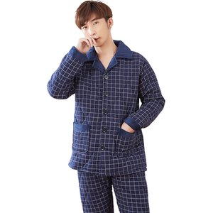 Modèles à carreaux pour hommes Pajama Ensemble à trois couches Épaississement d'hiver Pyjamas d'hiver Men Quilthed Jacket Coton Quilthed Pyjamas Plus Taille L-3XL Q1202