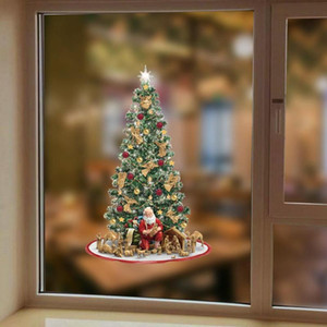 DIY PVC Christmas Window Stickers Wall Art Shop Window Ornament Electrostatic Waterproof Festival Decor Sticker Happy New Year