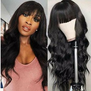 Body Wave Wigs With Bangs Virgin Brazilian None Lace Front Wigs