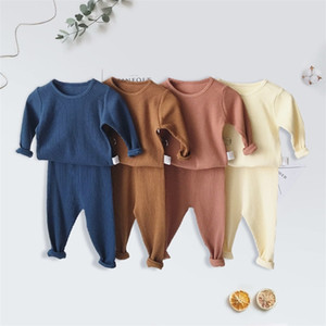 Children Ribbed Fitted Pajamas Kids Toddler Boys Girls PJS Cotton Top and Pants Sets Clothing Clothes Sleepwear Nightwear Y200704
