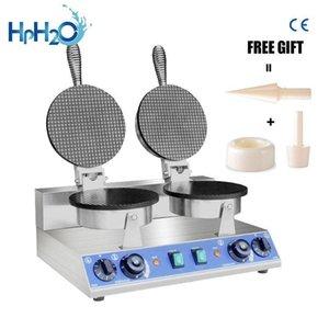Хлебные производители Коммерческие электрические мороженое Cone Maker Non-Stick Waffle Machine закуски железо двойной головной торт